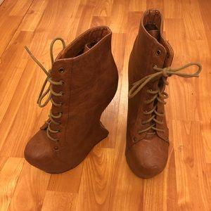 Cognac No heel wedge boot